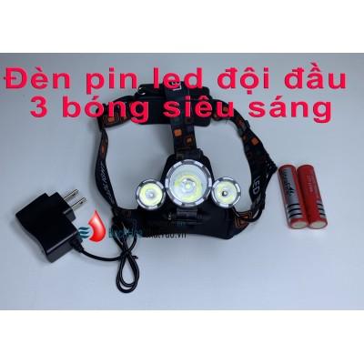 Đèn pin led đội đầu 3 bóng siêu sáng