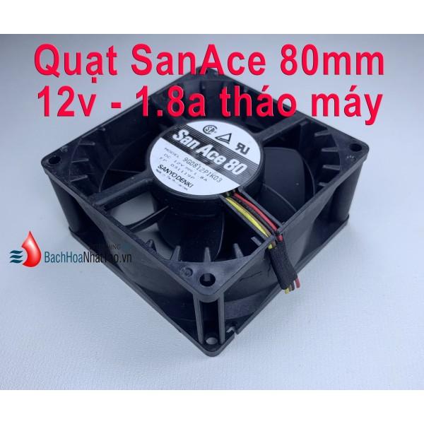 Quạt SanAce DC 12v-1.8a vuông 80mm tháo nguồn