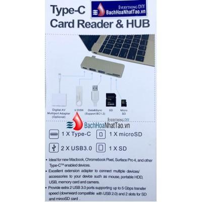 Đầu đọc thẻ Hoco Type-C & hub 5 cổng